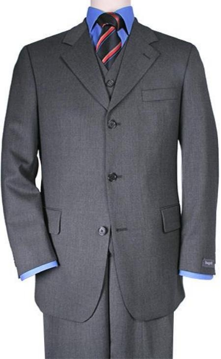 SKU# ZT3k Mens 3 Buttons Vested 3 ~ Three Piece Suit Super 150s Wool Feel Poly~Rayon Solid Charcoal Gray Suits