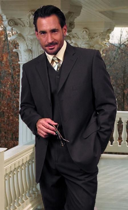 TS3V NICE 3PC 3 BUTTON SOLID COLOR CHARCOAL GERY MENS three piece suit - Color: Dark Grey Suit