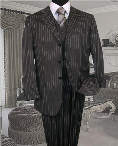 1920s Mens Suits | Gatsby, Gangster, Peaky Blinders TS-35 Bold Chalk Pronounce 3 Piece 3 BUTTON COLOR CHARCOAL VESTED MENS three piece suit WITH PINSTRIPE $179.00 AT vintagedancer.com