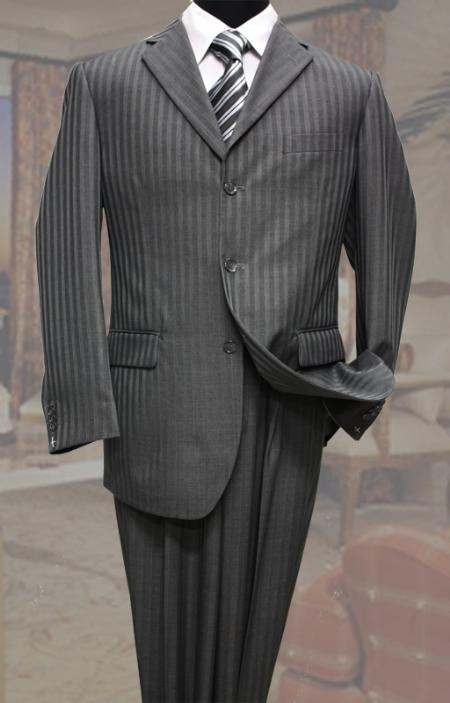 SKU#GZ3999 Classic 3 Button Charcoal Tone On Tone Stripe ~ Pinstripe Mens Suit