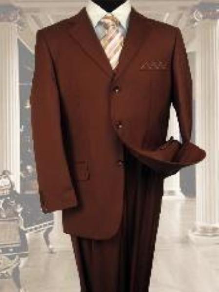SKU#NS021 Exclusive Light Weight Copper~Rust~cognac 3 Button Suit Hand Made