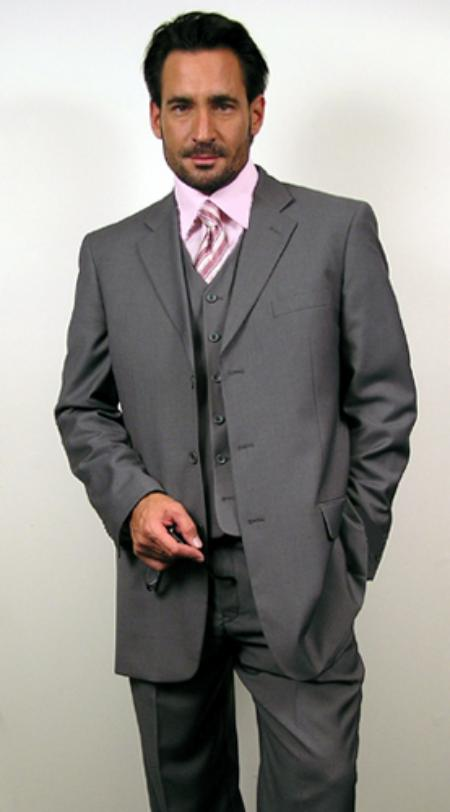 3 Button Gray~Grey three piece suit Vested three piece su