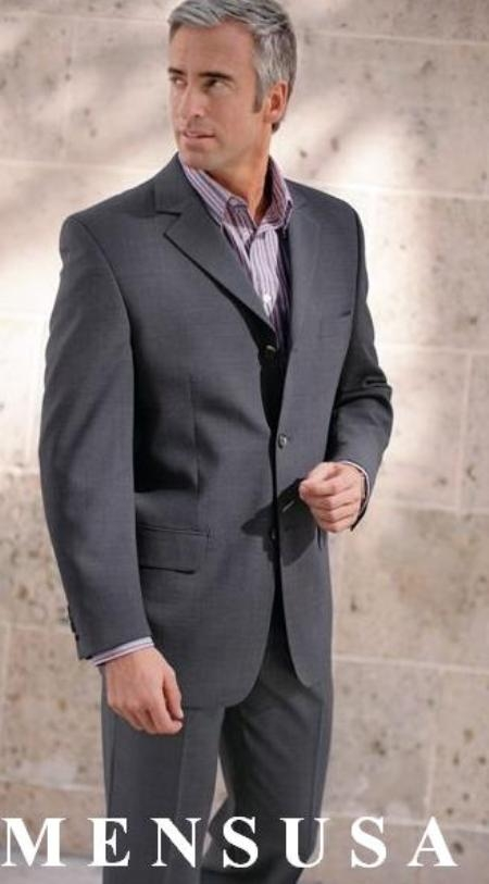 Mens Gray Super 140s Wool Jacket With SHIRT and TIE Available in 2 or Three ~ 3 Buttons Style Regular Classic Cut