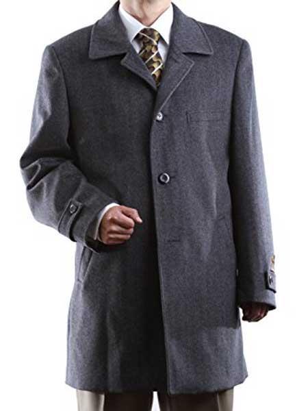 Mens Dress Coat 3 Buttons Luxury Wool/Cashmere Gray Three Quarter Length Notch Lapel Long Mens Dress Topcoat -  Winter coat