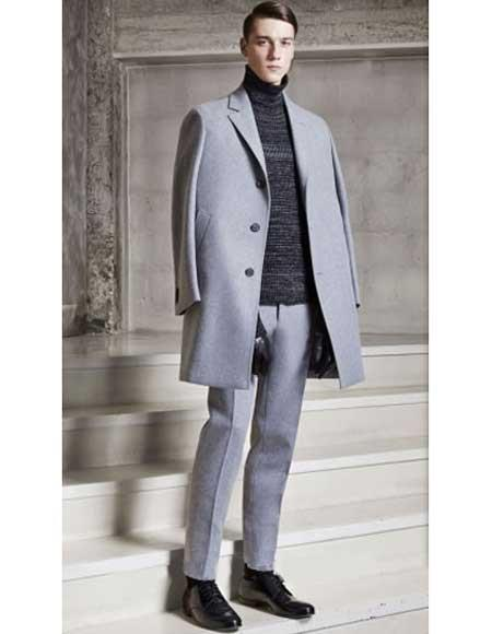 Mens Dress Coat Light Grey  ~ Silver Gray 3 Buttons Notch Lapel Single Breasted 95% Wool Overcoat