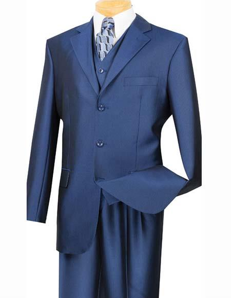 Mens Indigo ~ Bright Blue ~ Cobalt Blue ~ Teal ~  Dark Navy Three ~ 3 Buttons Vested Cheap Priced Business Suits Clearance Sale Vested 3 Button Suit Pleated Pants
