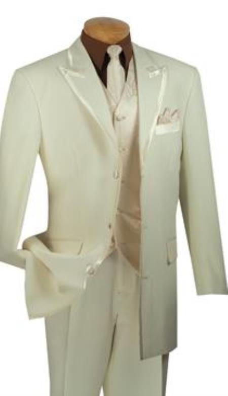 Buy AP74K Mens 3 Button Peak Lapel Vested 4 Piece Suit Tuxedo Ivory