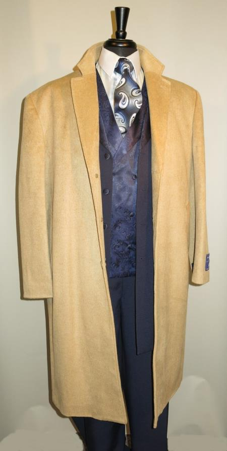 Mens Dress Coat 3 Button Long Wool Blend Camel ~ Khaki Color Full Length Overcoat