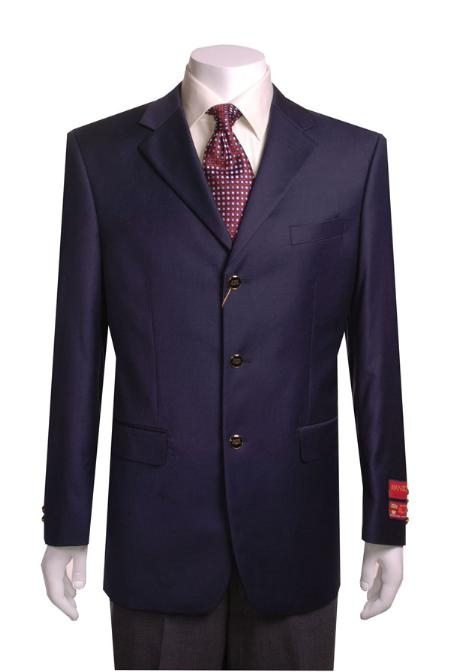 Men's 3 buttons Navy Blue Wool Jacket/Blazer