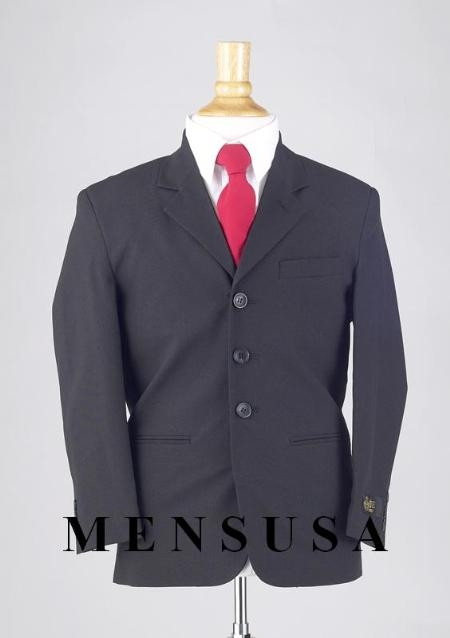 SKU# BMU3 Boys Solid Navy Blue Suits 3 Buttons Light Weight Soft Fabric Suit