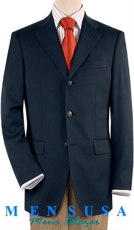 SKU# YMC121 Dark Navy Blue Three buttons Notch Lapel Front 4 on Sleeves Fully Lined Metal Buttons