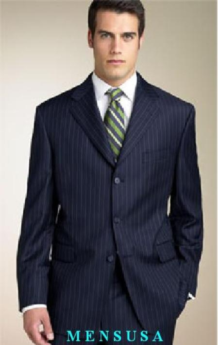 Mens Dark Navy Blue Suit For Men Stripe ~ Pinstripe Available in 2 or 3 Buttons Style Regular Classic Cut wool feel poly~rayon Shirt+Tie+SHIRT TIE