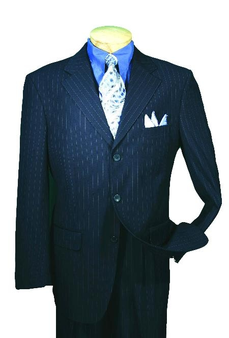 SKU#NV76389 Men's Single Breasted Navy affordable Stripe ~ Pinstripe Blue Pleated Pants suit online sale Available in 2 or Three ~ 3 Buttons Style Regular Classic Cut