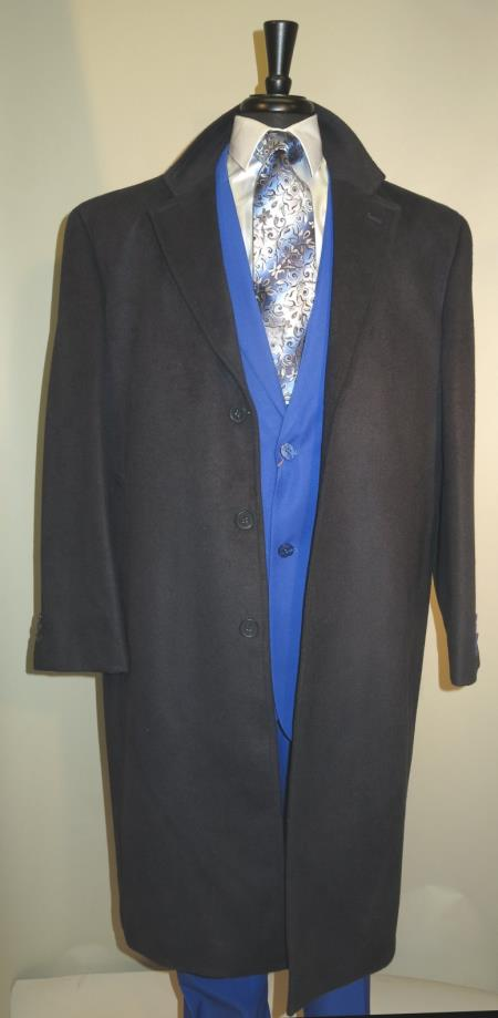 Mens Dress Coat 3 Button Long Wool Blend Navy Color Full Length Overcoat
