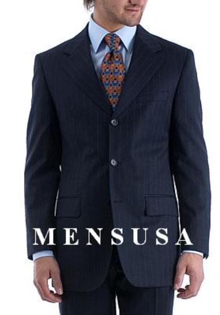 Notch Lapel Side Vented 3 buttons Rich Navy Pinstripe Super 140s Wool premier quality italian fabric suit