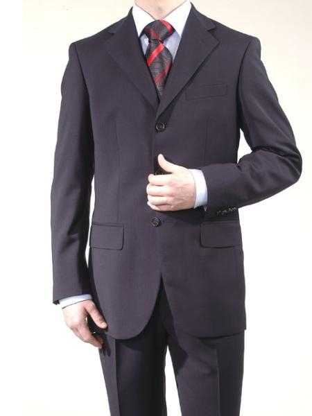 Men's Dark Navy Super Wool Feel Poly~Rayon 3 Button Suit Dress Busines Suit