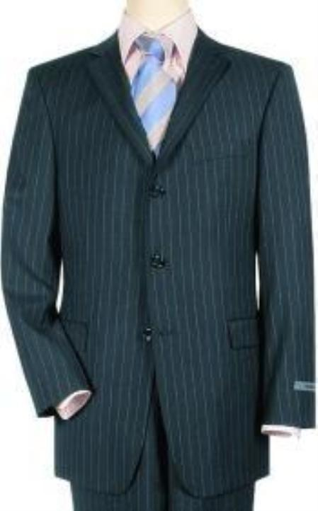 SKU# 70102 Navy Pinstripe premier quality italian fabric Super 140 Wool 3 Buttons