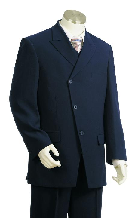 SKU#GY7612 Mens High Fashion 3 Button Navy 100% Wool Zoot Suit