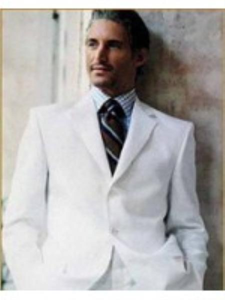Mens Suits For Men in 3 Button Style Blend Suit White or Off White