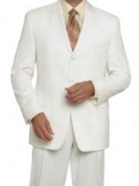 Mens 3 Button Off White Wool Feel Touch Poly Rayon Wrinkle Touch Super Light Weight Suits For Men