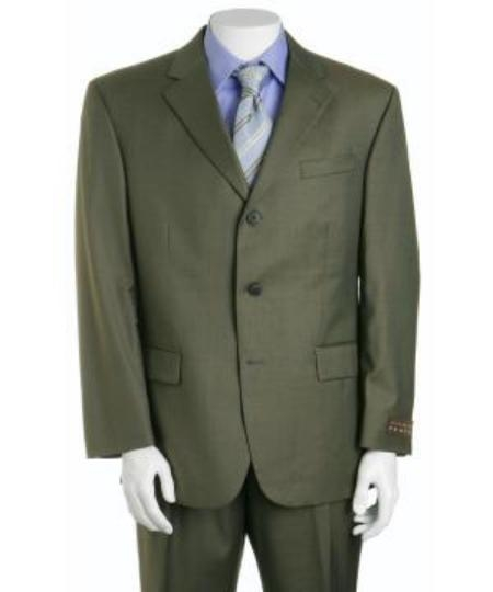 Olive Green Three ~ 3 Buttons Super 150s Wool
