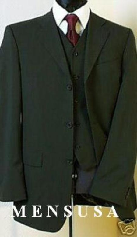 SKU# YLE499 Olive Green Super 150s 3 Buttons Vested Super 150s Wool Feel poly~rayon developed by NASA