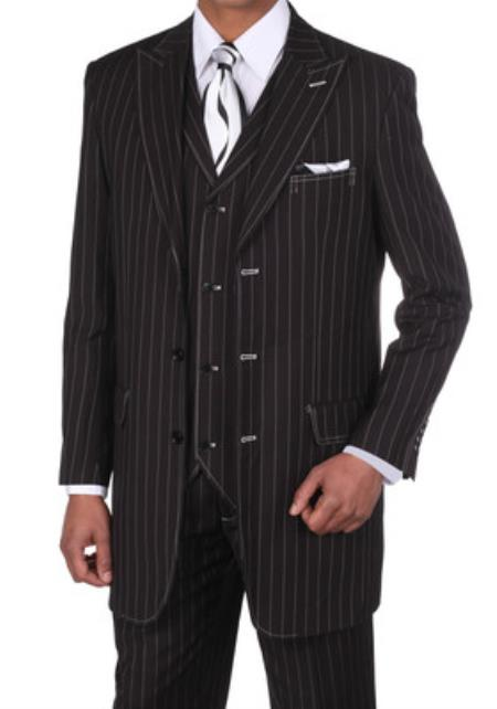 Mens Classic Bold Chalk Gangster Stripe 3 Button Pinstripe Suits w/Vest Black with White Stitching - Three Piece Suit