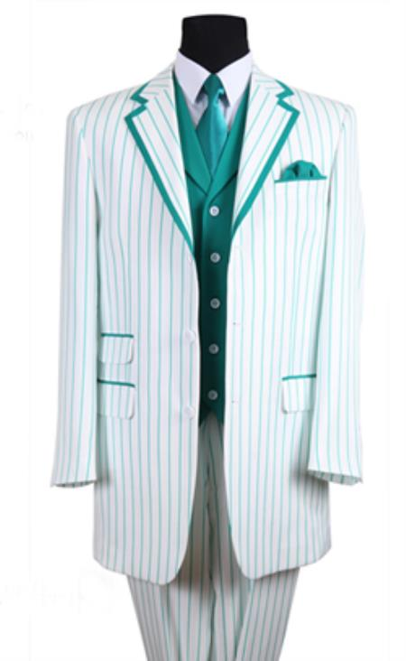 SKU#PN_B63 Mens 3 Button Single Breasted 35 Inch White/Turquoise Seersucker Pinstriped Tuxedo Look Vested 3 Piece
