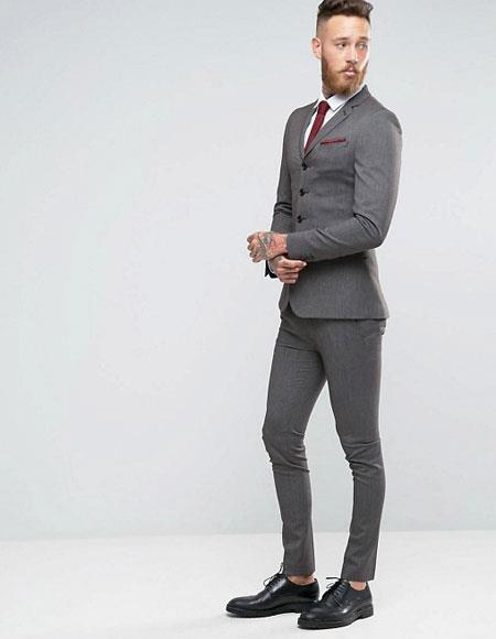 3 Buttons Slim Fitted Suit Flat Front Pants Side Vented Available in Black or Dark Navy  or Charcoal Grey