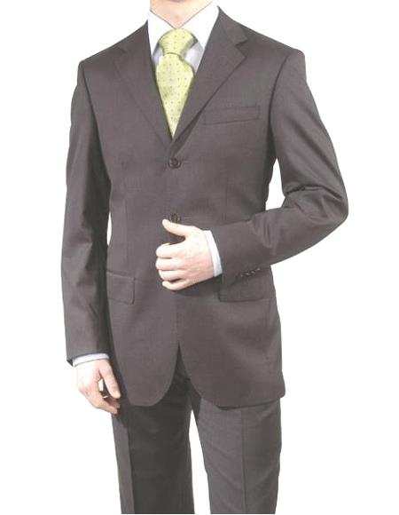 Charcoal Gray/Black -3 Button Super 150's Wool & Cashmere Three Buttons Style suit