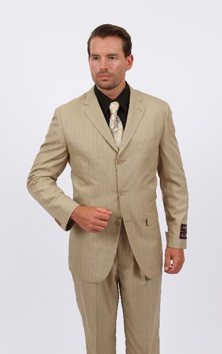 Mens 2 Piece Discount Suit - Tone on Tone Stripe ~ Pinstripe Dark Tan ~ Beige