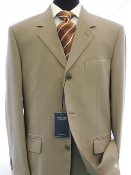 SKU# IGS158 3 Button Dark Conservative Business Tan ~ Beige Double Vent Real Suit 100% Worsted Wool Higher Quality Side Vent