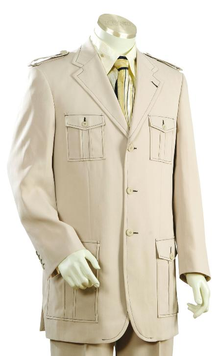 Mens Fashionable 3 Button Taupe SAFARI Long Sleeve ( military style ) Suit