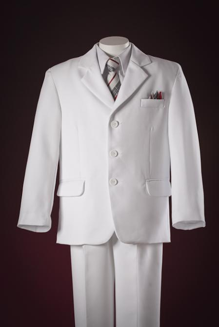 3 Button Fashion White Kids-Toddler-Boy Suits Perfect for toddler wedding  attire outfits