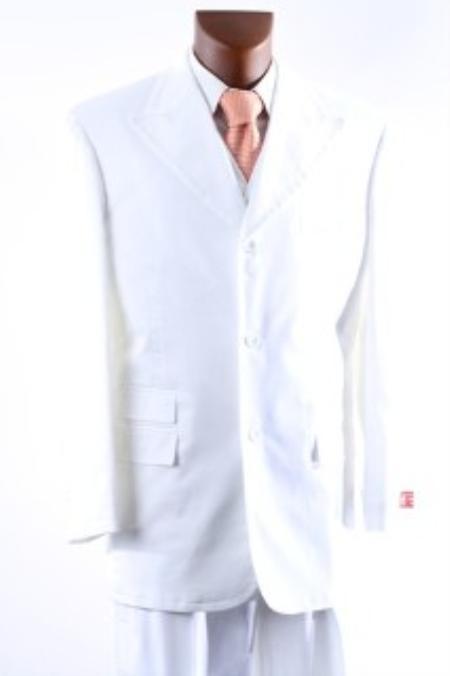 Mens 3 Button Super 150s Vested Suit Peak Lapel & Wide Leg