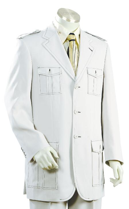 Mens 3 Button Fashion SAFARI Long Sleeve ( military style ) Suits For Men White
