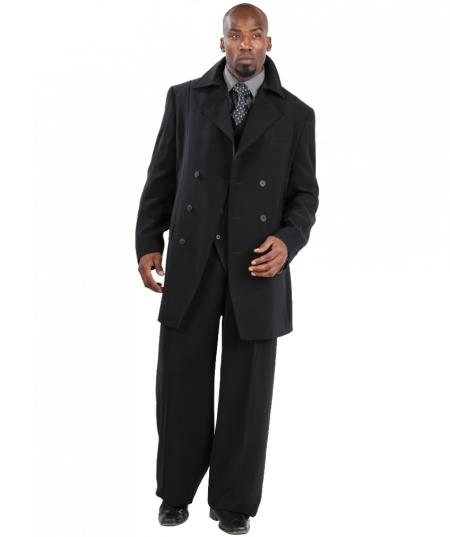 Suit Three Piece Vested With Peacoat Jacket with Wide Leg Pants Black