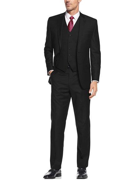 Buy SkinnyGD1127 Alberto Nardoni Black Suit Slim Skinny European fit Vested 3 Pieces Suit Notch Lapel Side Vented