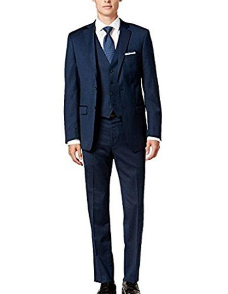 Alberto Nardoni Suit Midnight Blue Slim Skinny European fit Vested 3 Pieces Suit Notch Lapel Side Vented