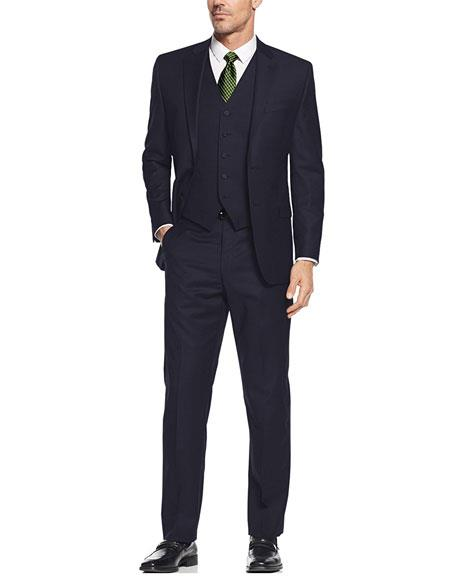 Navy  Vested 3 Pieces Suit