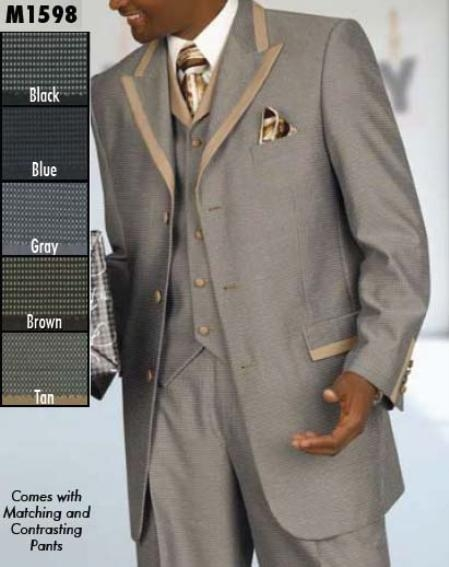 SKU#DF345 Three Button Single Breasted Suit $199