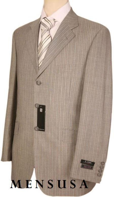 SKU# BMZ236 Three Button Tan / Taup With White Pinstripe Super 120s Wool Mens Dress Suit $109