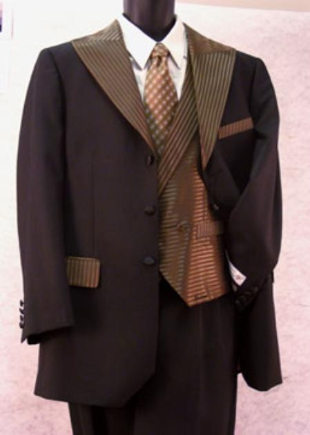 SKU#ZA376 Three Piece Mens Black Tuxedo Suits $189