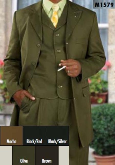 SKU#SC432 Three Piece Single Breasted Olive Suit $199