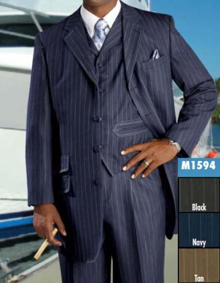 SKU#HH822 Three Piece Single Breasted Navy Blue Suit $189