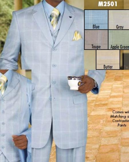 SKU#SA572 Three Piece Single Breasted Blue Suit $199
