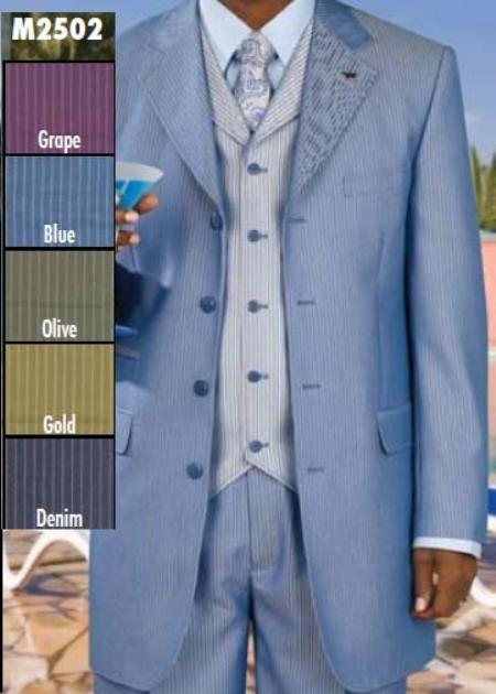 SKU#PR900 Three Piece Single Breasted Suit $199