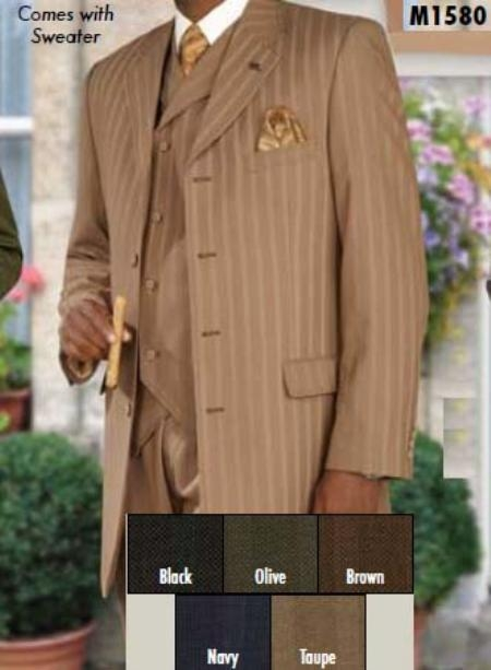 SKU#DS322 Three Piece Single Breasted Taupe Suit $179
