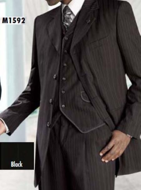 SKU#SS422 Three Piece Single Breasted Black Suit $199