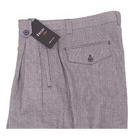 Mens Birdseye Grey Wide Leg Pure Dress Pants  Mens Wide Leg Trousers